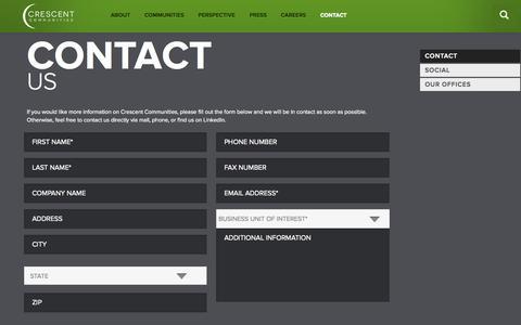 Screenshot of Contact Page crescentcommunities.com - Crescent Communities - captured Nov. 14, 2015