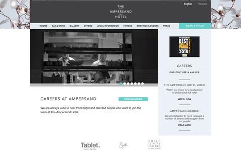 Screenshot of Jobs Page ampersandhotel.com - Hotel Jobs in London | The Ampersand Boutique Hotel Kensignton - captured Sept. 22, 2018