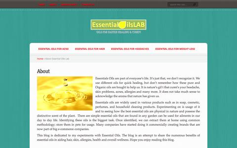 Screenshot of About Page essentialoilslab.com - About Essential Oils Lab - captured Oct. 30, 2014