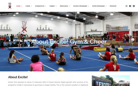 Screenshot of About Page excitegym.com - About - Excite! - captured Sept. 8, 2017