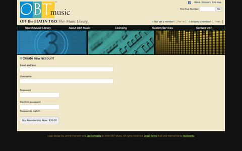 Screenshot of Signup Page obtmusic.com - Create new account | OBT Music - captured Nov. 7, 2018