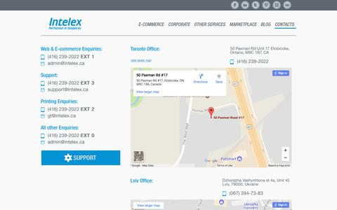 Screenshot of Contact Page intelex.ca - Contact Us - captured Nov. 25, 2017