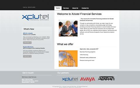 Screenshot of Home Page xfsleasing.com - Xclutel Financial - captured Oct. 4, 2014