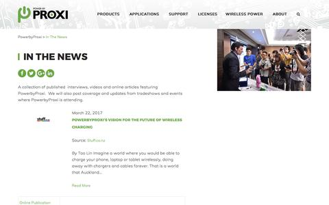 Screenshot of Press Page powerbyproxi.com - In The News - PowerbyProxi - captured May 9, 2017
