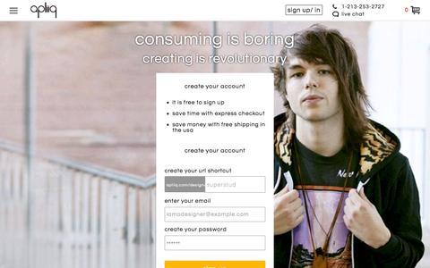 Screenshot of Signup Page apliiq.com - Sign Up | Design Your Own Clothes | Apliiq - captured Nov. 14, 2015