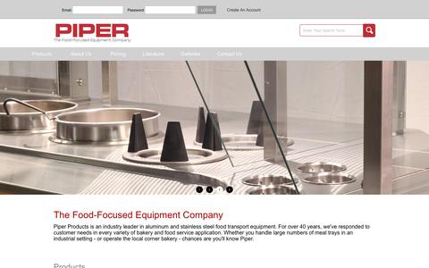 Screenshot of Home Page piperonline.net - Piper Products - Home Page - captured Aug. 3, 2017