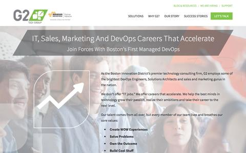 Screenshot of Jobs Page g2techgroup.com - Accelerate Your IT Career | G2 Technology Group - captured Aug. 17, 2016