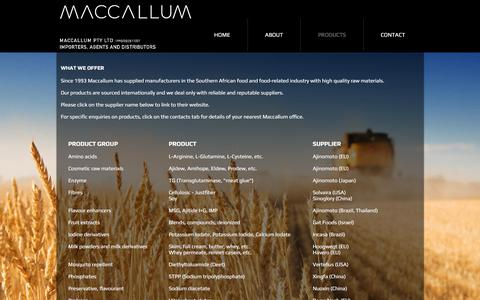 Screenshot of Services Page maccallum.co.za - Maccallum Food Ingredients | PRODUCTS - captured Oct. 3, 2017