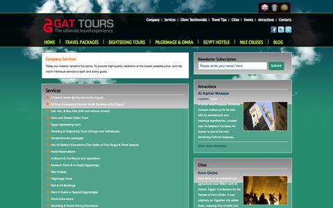 Screenshot of Services Page gattours.com - Services of GAT Tours Egypt - captured Sept. 26, 2014