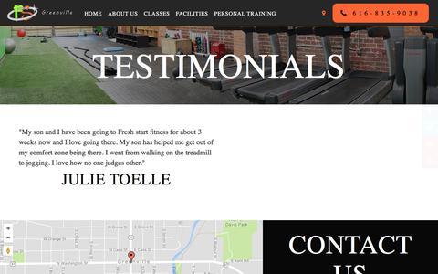 Screenshot of Testimonials Page bookingnest.com - Testimonials - Fresh Start Fitness - captured Nov. 1, 2017