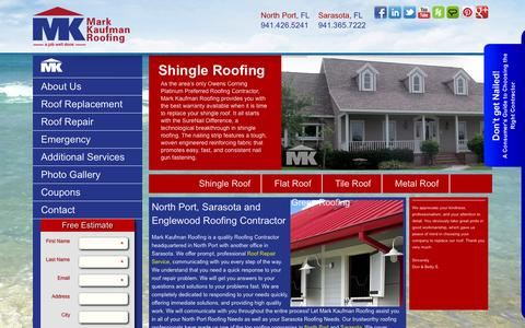 Screenshot of Home Page markkaufmanroofing.com - Sarasota Roofing | Mark Kaufman Roofing |Englewood Roofers - captured Oct. 4, 2014