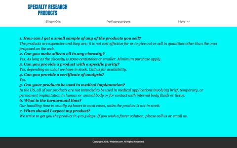 Screenshot of FAQ Page tradelinemedical.net - F A Q - tradelinemedical.net - captured Jan. 29, 2018