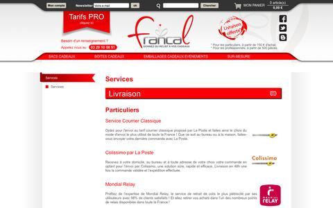 Screenshot of Services Page francal.fr - Francal, boîtes et sacs cadeaux, valorisez les cadeaux de vos clients - captured Sept. 30, 2014