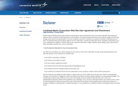 Screenshot of Privacy Page Terms Page lockheedmartin.com - Disclaimer · Lockheed Martin - captured Oct. 27, 2017