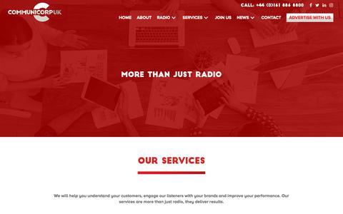 Screenshot of Services Page communicorpuk.com - Services Offered by Communicorp UK - captured Nov. 5, 2018