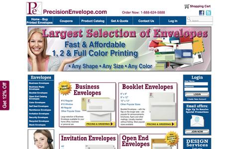 Screenshot of Home Page precisionenvelope.com - Envelope Printing | Buy Printed Envelopes | PrecisionEnvelope.com - captured May 20, 2017