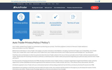 Screenshot of Privacy Page autotrader.co.uk - Privacy policy - Auto Trader UK - captured Sept. 18, 2017