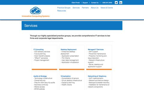 Screenshot of Services Page innovativecomp.com - Services - captured Oct. 6, 2014