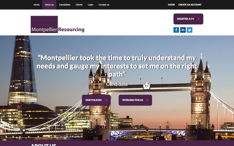 Screenshot of About Page montpellier.uk.com - About us - Montpellier Resourcing - Montpellier Resourcing - captured Feb. 17, 2016