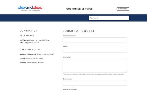Screenshot of Contact Page alexandalexa.com - Submit a request – Alex and Alexa - captured March 20, 2019