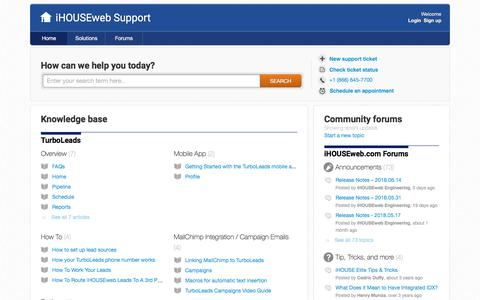 Screenshot of Support Page ihouseweb.com - Support : iHOUSEweb Support - captured July 5, 2018