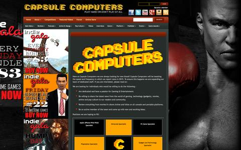 Screenshot of Jobs Page capsulecomputers.com.au - Careers | Capsule Computers - Gaming & Entertainment News, Reviews, Interviews & Competitions - captured Oct. 26, 2015