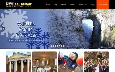 Screenshot of Home Page naturalbridgeva.com - Virginia's Natural Bridge Park & Historic HotelVirginia's Natural Bridge Park & Historic Hotel - captured Feb. 8, 2016