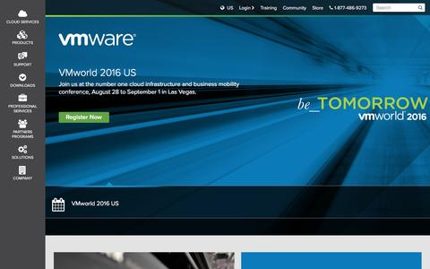 Screenshot of Home Page vmware.com - VMware Virtualization for Desktop & Server, Application, Public & Hybrid Clouds - captured July 16, 2016