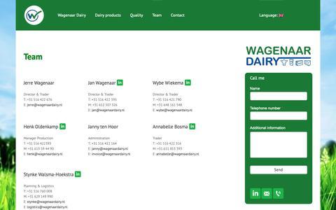 Screenshot of Team Page wagenaardairy.com - Ons team - captured Dec. 5, 2018
