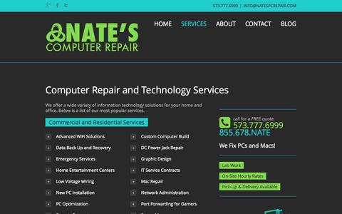 Screenshot of Services Page natespcrepair.com - Nate's Computer Repair || Columbia Missouri Services - Nate's Computer Repair || Columbia Missouri - captured Oct. 27, 2014