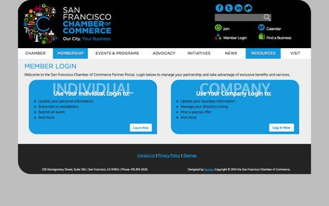 Screenshot of Login Page sfchamber.com - Member Login | San Francisco Chamber of Commerce - captured Oct. 3, 2014