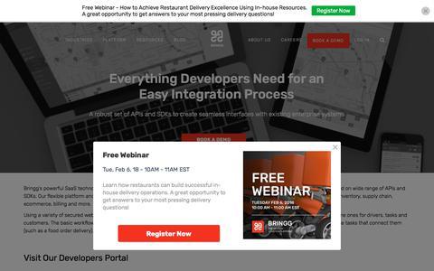 Screenshot of Developers Page bringg.com - Customer-Centric Logistics for Developers - captured Feb. 1, 2018