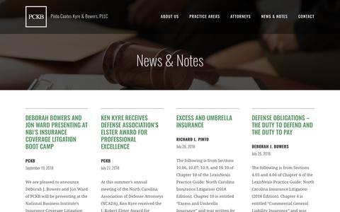 Screenshot of Press Page pckb-law.com - News & Notes | Pinto Coates Kyre & Bowers - captured Sept. 28, 2018