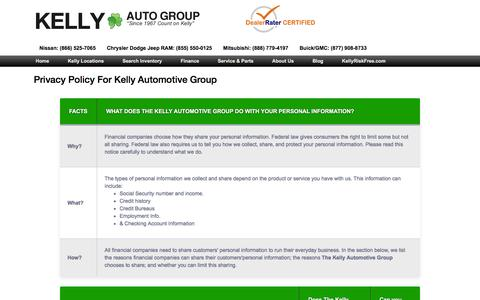 Screenshot of Privacy Page kellycar.com - Privacy Policy For Kelly Automotive Group - captured Feb. 12, 2016