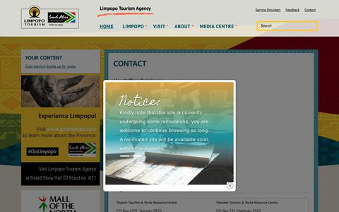 Screenshot of Contact Page golimpopo.com - Contact  | Limpopo Tourism Agency - captured July 9, 2018