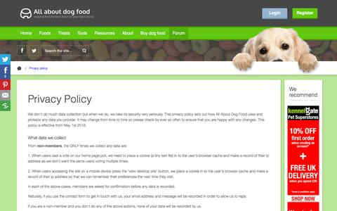 Screenshot of Privacy Page allaboutdogfood.co.uk - Privacy Policy - AllAboutDogFood.co.uk - captured Nov. 16, 2019