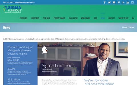 Screenshot of Press Page sigmaluminous.com - News - Sigma Luminous - captured Aug. 13, 2016