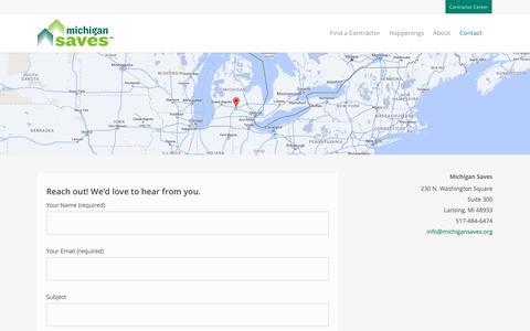 Screenshot of Contact Page michigansaves.org - Contact – Michigan Saves - captured Jan. 18, 2018