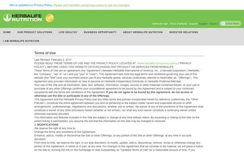 Screenshot of Terms Page herbalife.com - Herbalife - US - Terms of Use - captured Jan. 2, 2020
