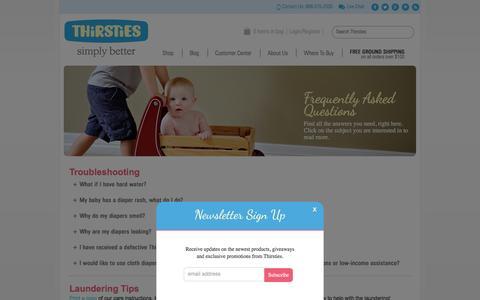 Screenshot of FAQ Page thirstiesbaby.com - FAQs | Thirsties Baby - captured Jan. 17, 2016