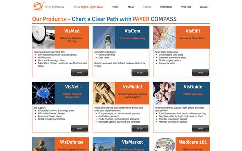 Screenshot of Products Page payercompass.com - Payer Compass - Our Products - captured Oct. 29, 2016