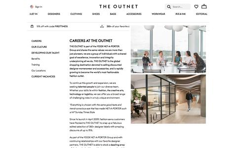 Screenshot of Jobs Page theoutnet.com - THE OUTNET   Careers - captured Sept. 21, 2018