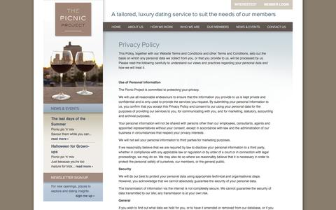 Screenshot of Privacy Page thepicnicproject.com - Privacy | The Picnic Project | Exclusive UK introduction and dating agency - captured Oct. 26, 2014