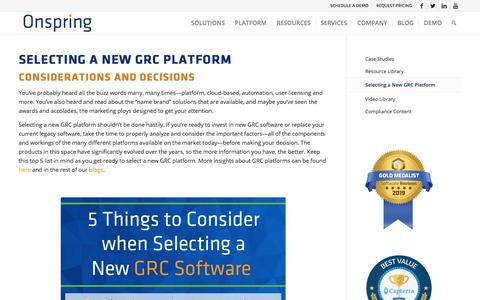 Screenshot of Case Studies Page onspring.com - GRC Platforms | What to Consider When Selecting a New GRC Platform - captured Nov. 29, 2019