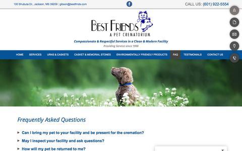 Screenshot of FAQ Page bestfrnds.com - FAQ  | Jackson, MS | Best Friends - captured July 3, 2018