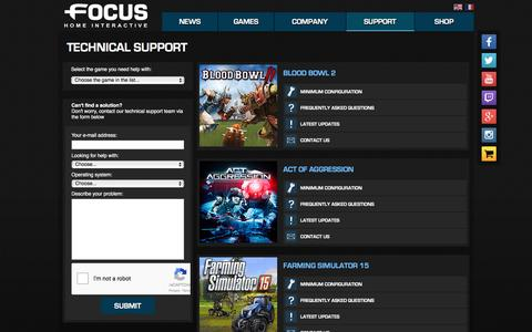 Screenshot of Support Page focus-home.com - Support - Focus Home Interactive - captured Feb. 10, 2016