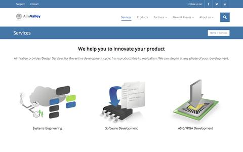 Screenshot of Services Page aimvalley.com - AimValley's R&D Services - captured July 29, 2018