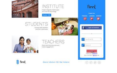 Screenshot of Home Page flinnt.com - flinnt | Home - captured Sept. 30, 2014