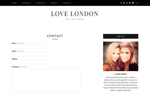 Screenshot of Contact Page love-london.co.uk - Contact   Love London   Lifestyle Blog - captured Oct. 21, 2018