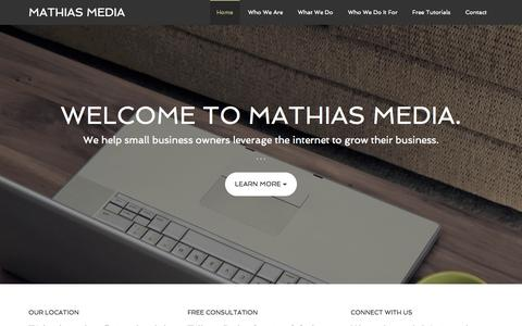 Screenshot of Home Page mathiasmedia.com - Mathias Media - Online Marketing Consulting and Services for Small Businesses - captured Sept. 30, 2014